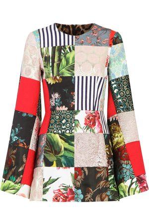 adidas Long-sleeved patchwork jacquard dress - Neutrals