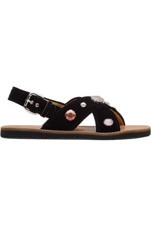 adidas Crystal-embellished velvet sandals
