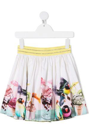 Molo Brenda bird-print organic cotton skirt - Neutrals