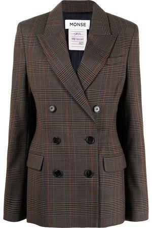 adidas Prince of Wales plaid cape blazer