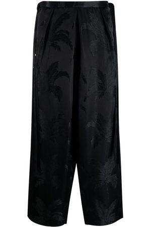 Saint Laurent Palm-jacquard silk trousers