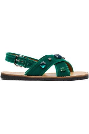 adidas Crystal-embellished velvet-strap sandals