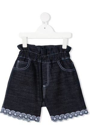 adidas High-waisted lace-trimmed denim shorts