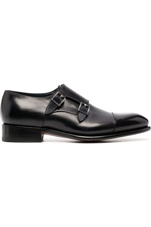 adidas Double-buckle leather monk shoes