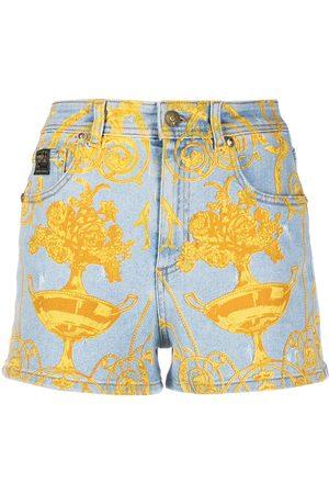 adidas Graphic print denim shorts