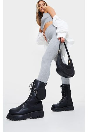 adidas Wide Fit PU Pocket Side Lace Up Biker Boots