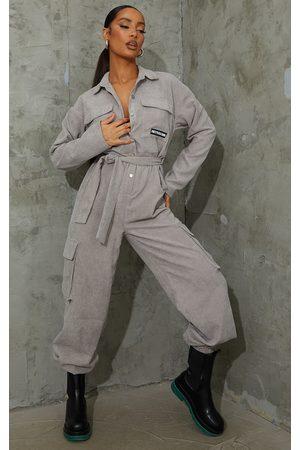 PRETTYLITTLETHING Women Jumpsuits - Grey Cord Boiler Jumpsuit