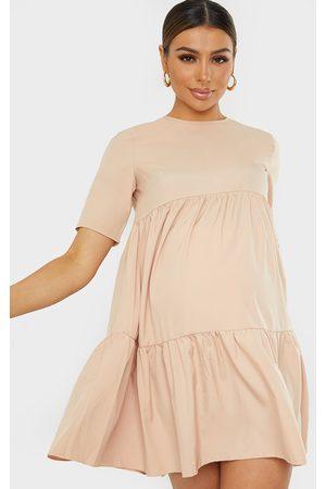 adidas Maternity Camel Ruffle Sleeve Mini Dress