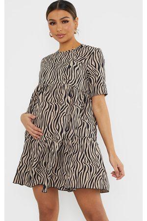 adidas Maternity Animal Printed Ruffle Sleeve Mini Dress