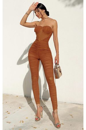 PRETTYLITTLETHING Chocolate Corset Detail Mesh Ruched Bandeau Jumpsuit