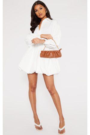 PRETTYLITTLETHING Puffball Hem Shirt Dress