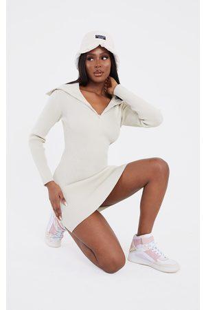 adidas Tall Stone Half Zip Thick Rib Mini Dress