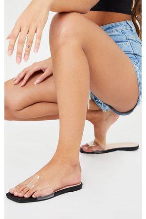 adidas WIDE FIT PU Clear Strap Mule Sandals