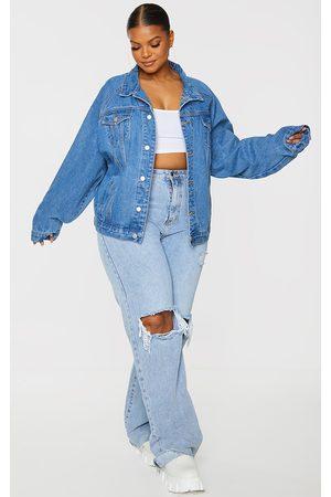 PRETTYLITTLETHING Women Denim Jackets - Plus Mid Wash Drop Shoulder Oversized Denim Jacket