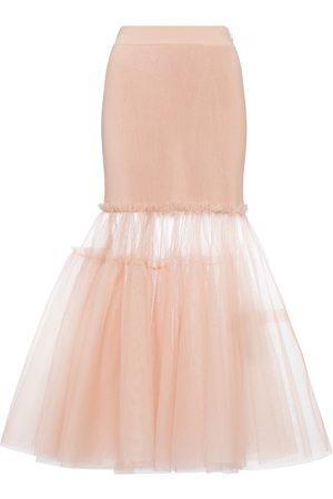 adidas Tulle-trimmed midi skirt