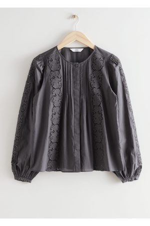 & OTHER STORIES Women Blouses - Floral Lace A-Line Blouse - Grey