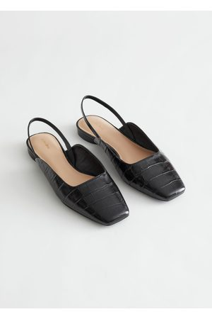 & OTHER STORIES Leather Square Toe Ballerina Flats