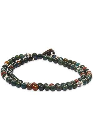Mikia Men Bracelets - Double-Wrap Stone 4mm Bracelet