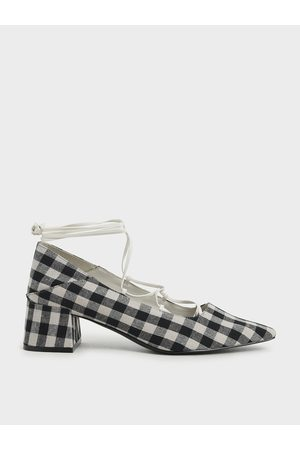 CHARLES & KEITH Woven Gingham Ankle Tie Pumps