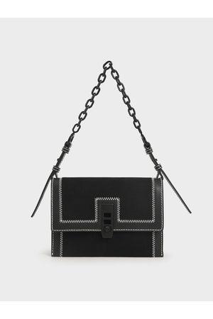 CHARLES & KEITH Canvas Turn-Lock Chain Handle Bag