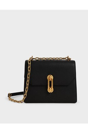 CHARLES & KEITH Double Chain Strap Turn-Lock Bag
