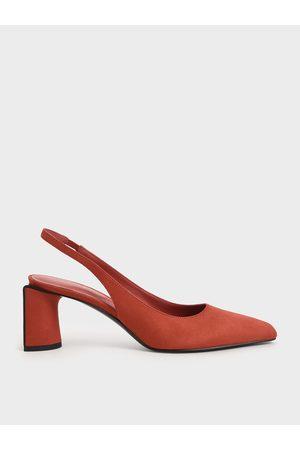 CHARLES & KEITH Women Heels - Textured Half Moon Slingback Pumps