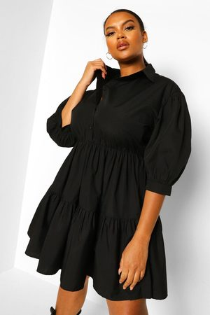 Boohoo Womens Plus Tiered Smock Shirt Dress - - 12