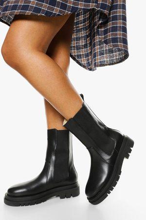 Boohoo Womens Wide Width Calf High Chunky Sole Chelsea Boot - - 5