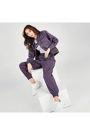 Nike Women's Sportswear Swoosh Woven Jogger Pants in /Dark Raisin Size X-Small 100% Polyester