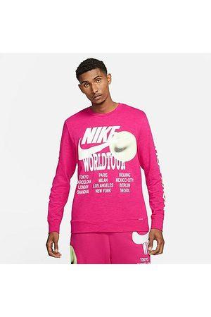 Nike Men's Sportswear World Tour Long-Sleeve T-Shirt in /Fireberry Size Small 100% Cotton