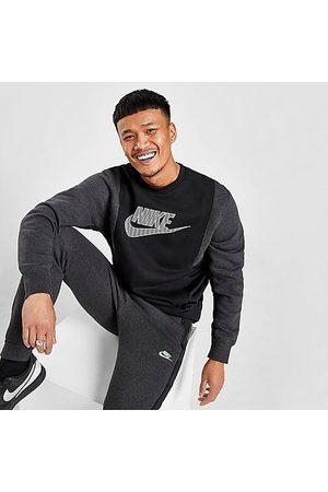 Nike Men Sweatshirts - Men's Sportswear Hybrid Fleece Crewneck Sweatshirt in / Heather Size Small Cotton/Polyester/Fleece