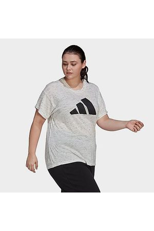 adidas Women T-shirts - Women's Athletics Sportswear Winners 2.0 T-Shirt (Plus Size) in Off- / Melange Size Extra Large Cotton/Polyester/Jersey