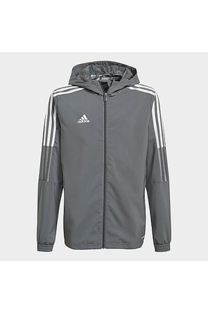 adidas Kids' Tiro 21 Soccer Windbreaker Jacket in Grey/Black Size 2X-Small Polyester