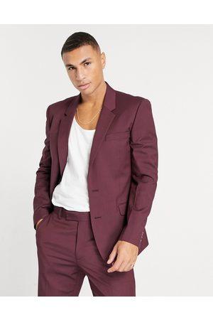 ASOS Slim suit jacket in burgundy-Grey