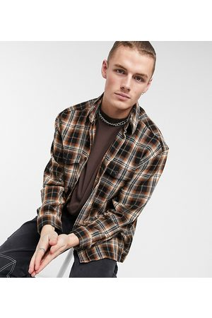 COLLUSION Oversized shacket in brushed brown check-Blues