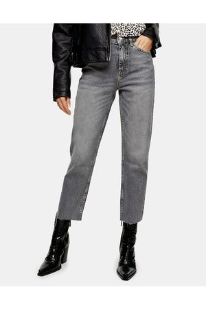 Topshop Straight leg ripped hem jeans in -Grey