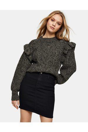 Topshop Joni skinny denim skirt in black