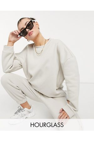 ASOS Hourglass tracksuit oversized sweatshirt / oversized sweatpants in stone