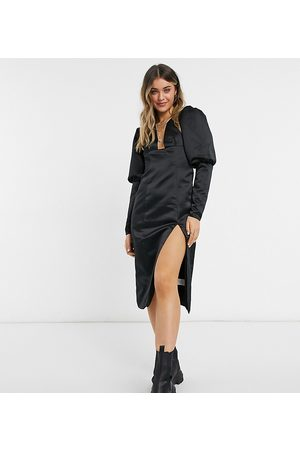 Collective The Label Exclusive plunge thigh slit midi dress with oversized sleeves in