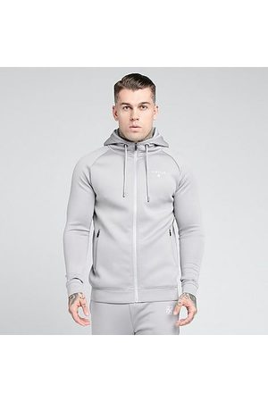 Siksilk Men Hoodies - Men's Fitted Hoodie in Grey/Vapour Grey Size Small Silk