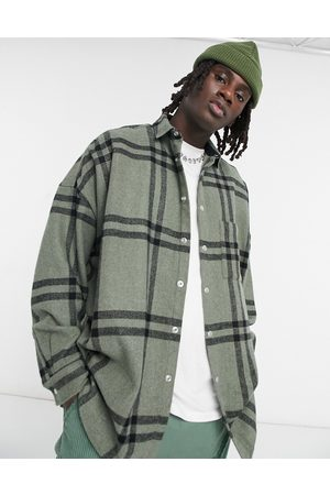ASOS Wool mix volume overshirt in khaki windowpane plaid with snap buttons