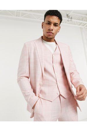 ASOS Wedding skinny suit jacket in pastel crosshatch