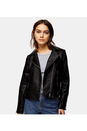 Topshop Faux leather moto jacket in