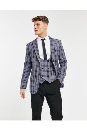 Original Penguin Plaid slim fit suit jacket-Blues