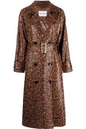 Stand Studio Shiny leopard print Shelby trench coat