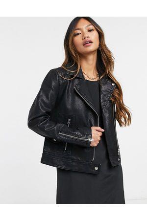 Topshop Faux leather biker jacket in black