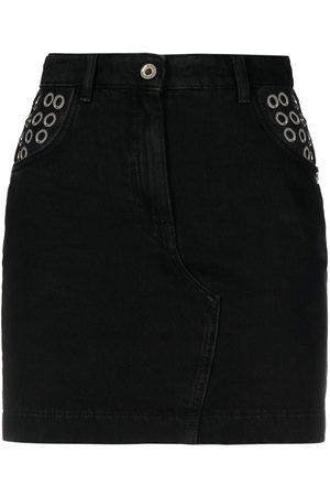 adidas Eyelet-embellished denim mini skirt