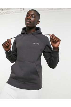 Nicce London Hoodie with chest logo in charcoal-Grey