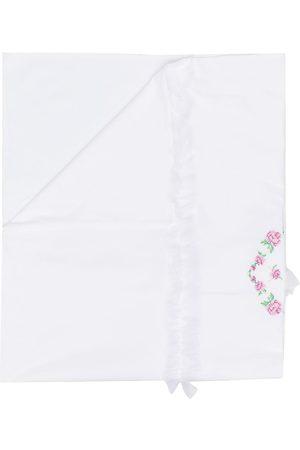 MISS BLUMARINE Floral-print ruffled blanket