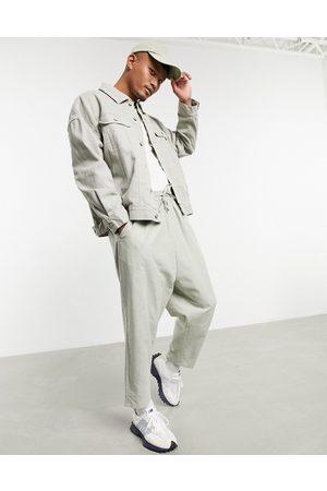 ASOS Oversized denim western jacket in -Grey
